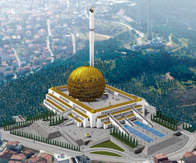 Çamlıca'ya yapılması planlanan cami ile ilgili Prof. Dr. Ahmet Vefik Alp de çarpıcı bir proje hazırladı. 28 bin kişinin aynı anda namaz kılabileceği Büyük Çamlıca Tepesi Camii'nin kubbesi altın.