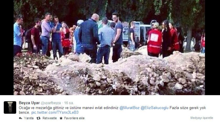 Maden ocağı ve Soma Mezarlığı'nda onu görenler gözlerine inanamadı. Ünlü şarkıcıyı tanıyanlar fotoğraflarını çekerek Twitter'da yayınladı.