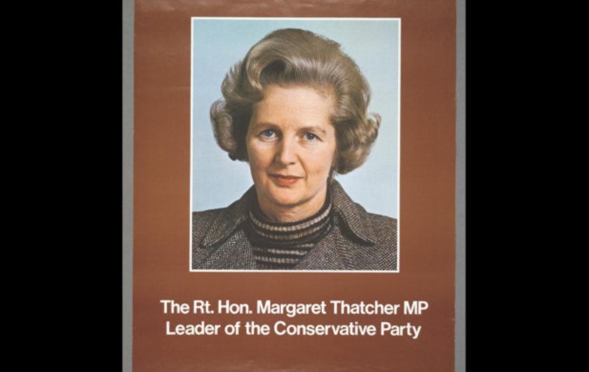 1975 yılının genel seçimlerinde sağcı partinin başkanı olan Thatcher'ın posteri. Thatcher, 1979'da İngiltere'nin ilk kadın başbakanı seçilmişti.
