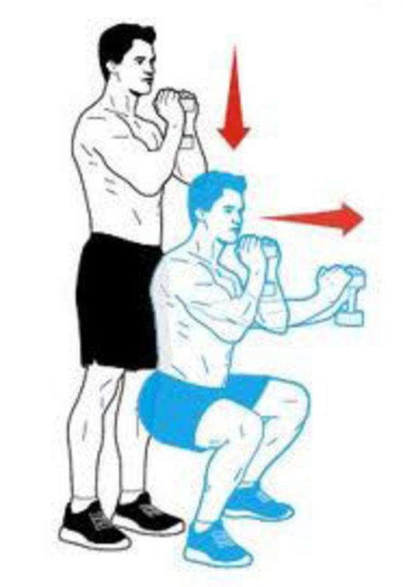 Göğsünüzün önünde dik olarak iki elinizle bir dumbbell tutun. Karın kaslarınızı sıkın ve squat hareketi yaparak vücudunuzu yere yaklaştırın. Bu pozisyondayken dumbbell'ı kollarınız gergin olana kadar göğsünüzün önünde ileri uzatın. Tekrar göğsünüze yaklaştırın ve başlangıç pozisyonuna dönün.