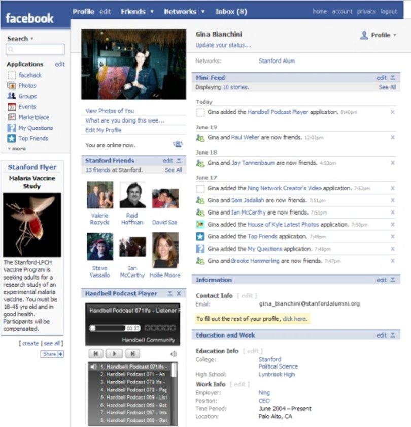 2007 ve 2008 yıllarında Facebook etkileşimini hızla artırıyor. Arkadaşlar ve gelen mesajlar gibi özellikler alanlarını büyüterek ön plana geliyor.