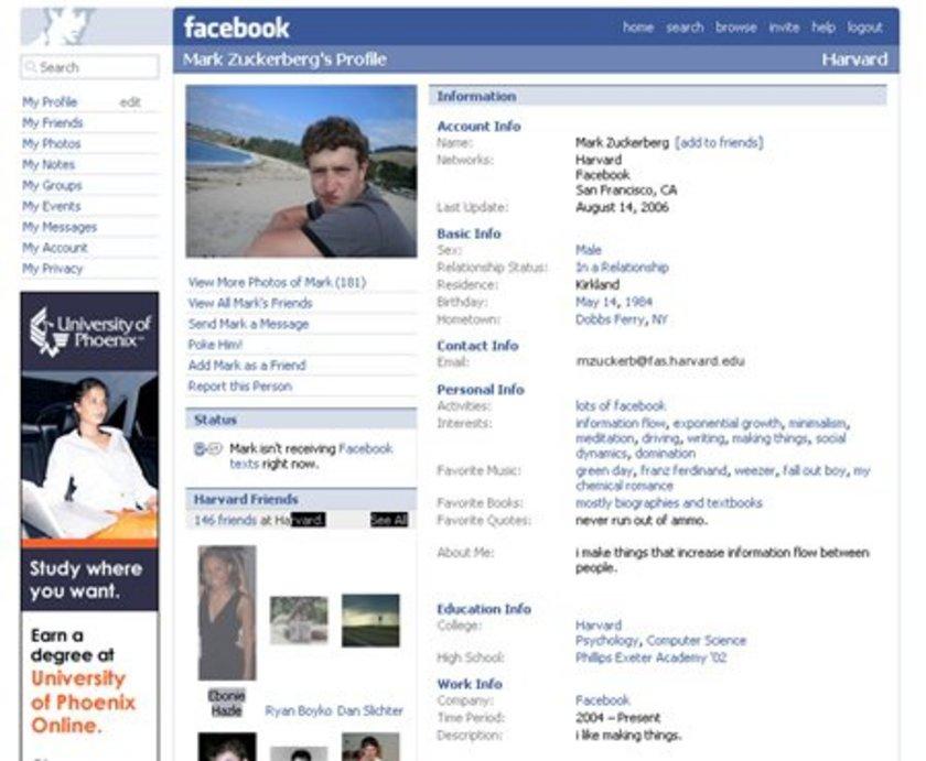 2006 yılında tasarım biraz daha gelişiyor. Facebook kurucusu ilişki durumunu belirtmiş durumda.