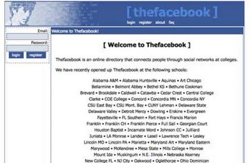 Facebook'un değişim hikayesi<br>\n2004 yılındaki bu görüntü o zamanki adıyla TheFacebook'un okullar arasında bir ağ olduğunu gösteriyor. Takip edilen okulların listesi sizi karşılıyor.