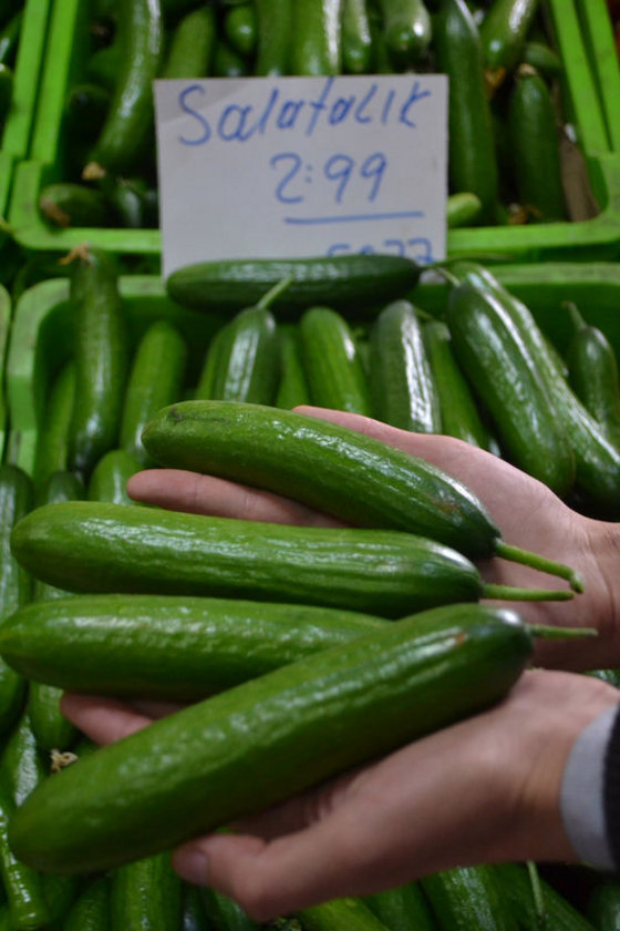 Salatalık ve diğer yeşillikler: Limon ve soğuk sıkım zeytinyağı ekleyerek gün içinde sarı ve kırmızı sebzeler rahatça yenebilir.