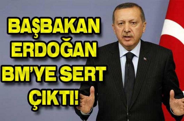 """Başbakan Erdoğan, Suriye'deki iç savaş hakkında konuştu. Birleşmiş Milletler hakkında sert konuşan Erdoğan, """"BM barış için kurulmuş kuruluştur. 196 üyesi var. Peki görevini yapabiliyor mu? Hayır yapamıyor. İşlerine gelmiyor. İstiyorlar ki dünyayı sadece biz yönetelim. Demokrasi diyorsak adım atılması lazım."""" dedi."""