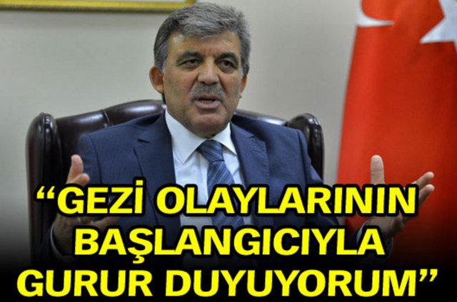 """Cumhurbaşkanı Gül'den Gezi yorumu  Cumhurbaşkanı Abdullah Gül, ABD'de katıldığı bir toplantıda Gezi olaylarına ilişkin, """"Bu ve benzeri olayların başlangıcı ile ilgili açıkçası gurur da duyarım. New York'ta olduğu gibi çevre bilinci ile ortaya çıkan bir olay"""" dedi."""