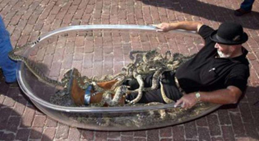 Amerika Los Angles'ta Jackie Biby, 24 Eylül 1999 tarihinde 75 çıngıraklı yılanla aynı küveti paylaştı.