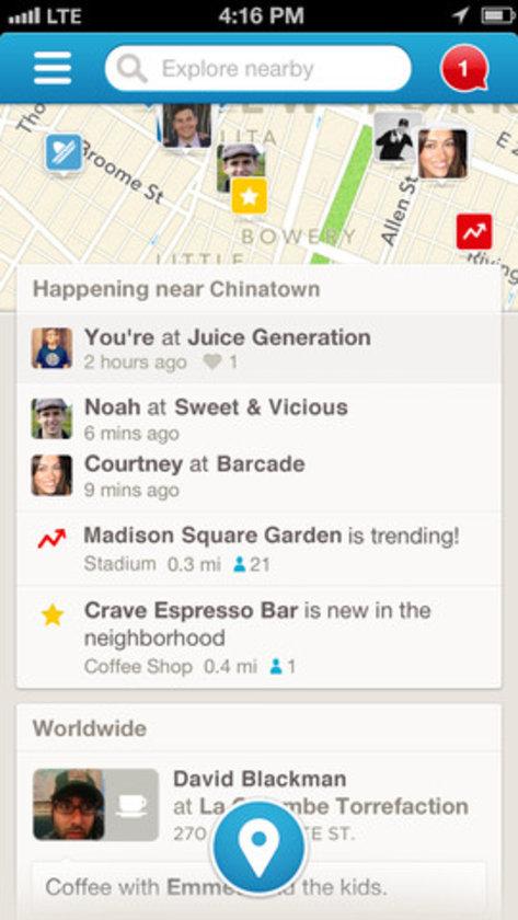 FOURSQUARE: Konum tabanlı sosyal ağ olarak yola çıkan ve mobil dünyanın vazgeçilmez unsurlarından biri olan Foursquare yeni yerler keşfetmek, bulunduğunuz konumu paylaşmak ve dostlarınızın nerede olduğunu görebilmek adına iyi düşünülmüş özelliklere sahip.