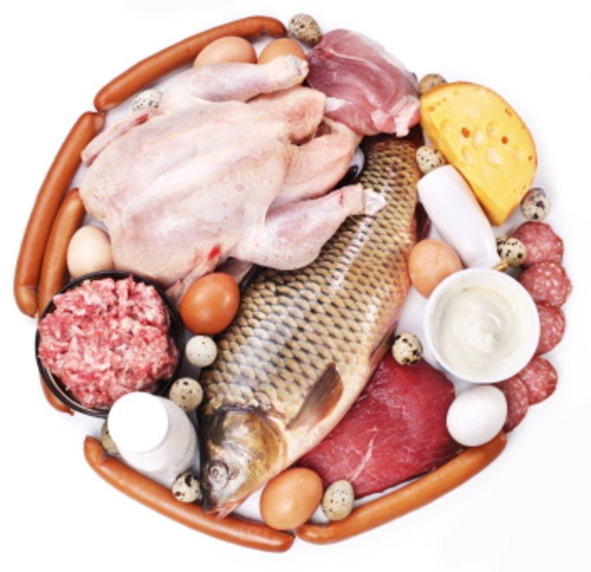 Balık, et, yumurta, süt ürünleri, tahıllar ve kuru bakliyatlar...