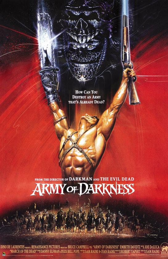 8-Karanlığın Ordusu(Army of Darkness) (1992): Büyülü kitap Necronomicon'un marifetleriyle,kendisini elinde testereyle ortaçağda bulan Ash, zombi avına çıkar. Böylece devasa zombi ordusunu karşısına alır. Sam Raimi'nin 'Evil Dead' serisinin üçüncü filminde
