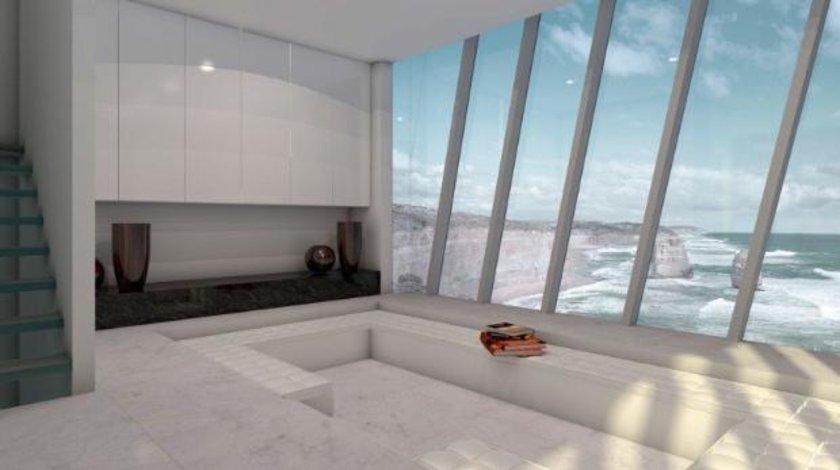 Beş katlı bu binada üç yatak odası, bir salon, bir mutfak ve banyoya sahip. Evin camları ise yerden tavana kadar nefes kesici okyanus manzarasına olanak veriyor.