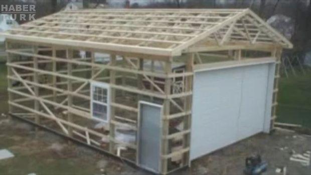 Sadece 2 günde garaj inşa etti!