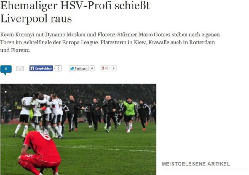 "DIE WELT: ""Hamburg'un eski oyuncusu Liverpool'u eledi"""