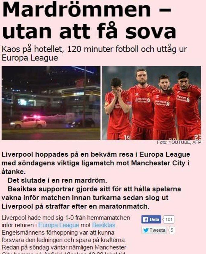 AFTONBLADET: Liverpool için İstanbul macerası kabusla sona erdi.