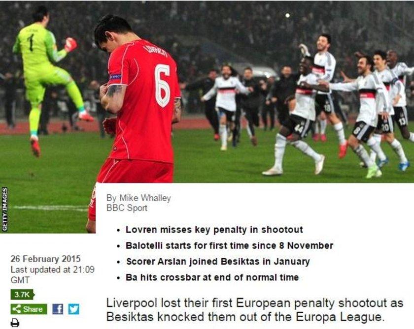 BBC: Liverpool, ilk kez seri penaltı atışlarını kaybetti ve Beşiktaş'a elendi.