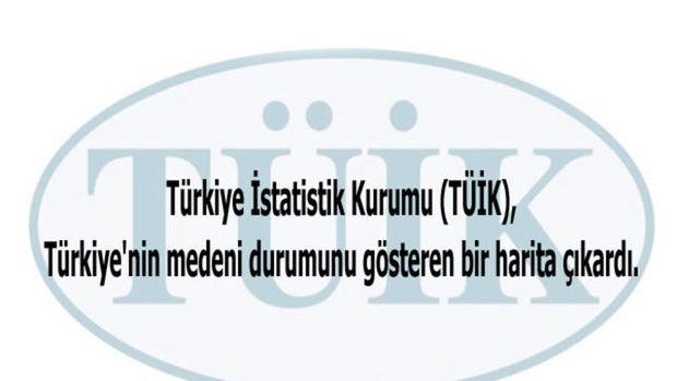 Türkiye'nin 'medeni durum' haritası