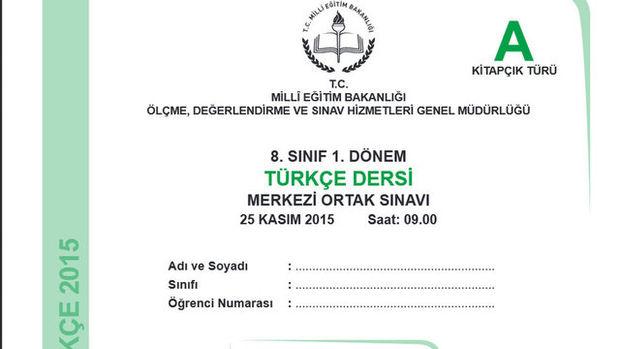 TEOG Türkçe Soru ve Cevapları ( 25-26 Kasım 2015)