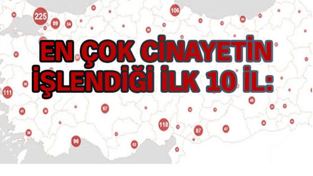 İşte Türkiye'nin cinayet haritası
