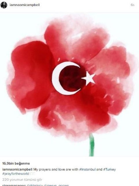 Naomi Campbell Dualarım ve sevgim İstanbul ile birlikte