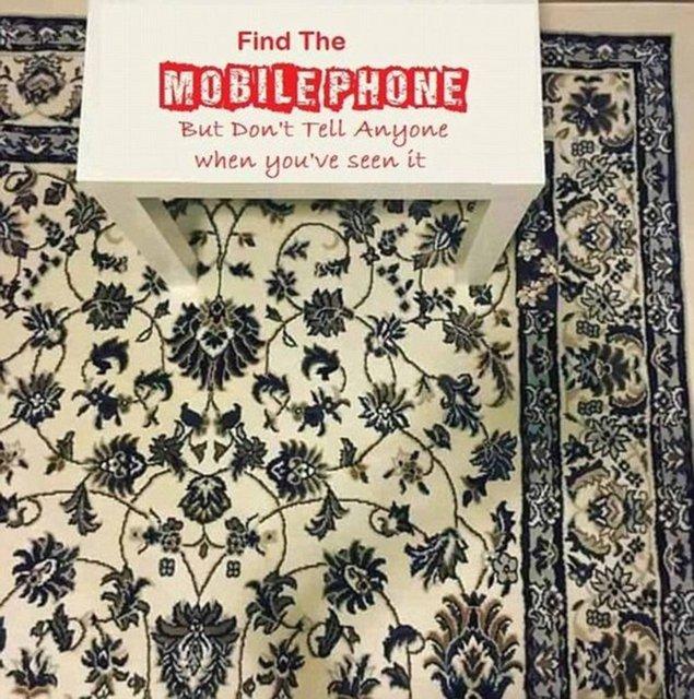 Bu halıda bir telefon gizli, ilk bakışta bulabildiniz mi?