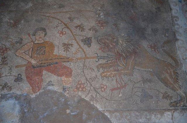 Yonca tarlasında çıkan bin 400 yıllık mozaik koruma altına alındı