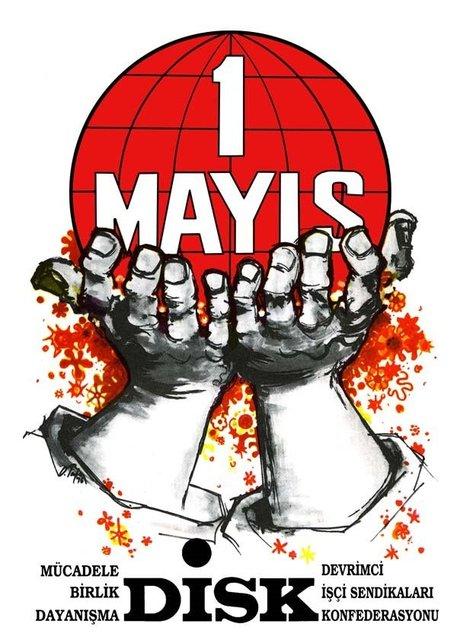 """Türkiye Devrimci İşçi Sendikaları Konfederasyonu'nun 1976 yılından 2017 yılına kadar """"1 Mayıs Emek ve Dayanışma Günü"""" için hazırladığı afişler...1976"""