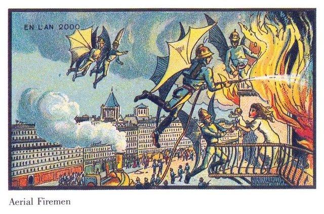 19. yüzyılda yaşayan sanatçılar milenyumu böyle hayal etmiş ve insanlığın her şeyi uçarak yaptığını öngörmüşler.
