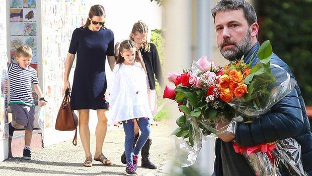 Ben Affleck, kızı Seraphina'yı izlemeye bir buket çiçekle gitti