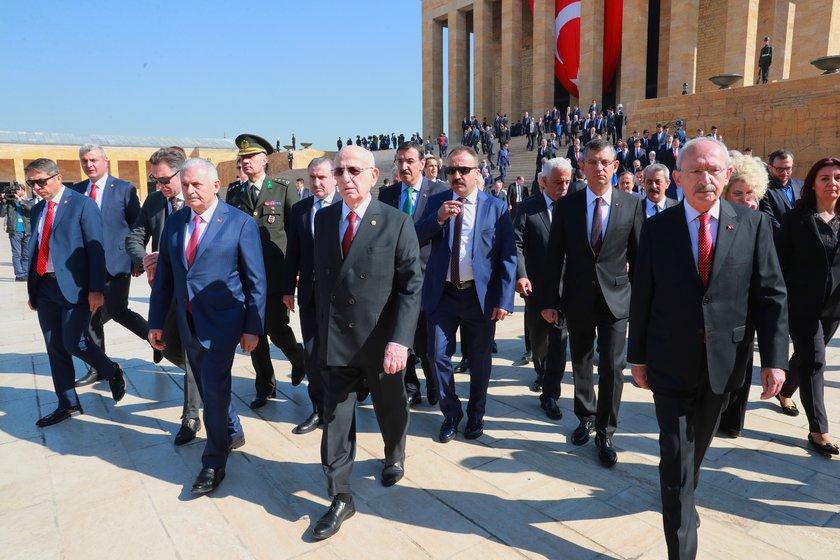 <p>Ziyarette Meclis Başkanı İsmail Kahraman, Başbakan Binali Yıldırım, CHP lideri Kemal Kılıçdaroğlu, MHP Genel Başkanı Devlet Bahçeli ve çok sayıda milletvekili yer aldı.</p>