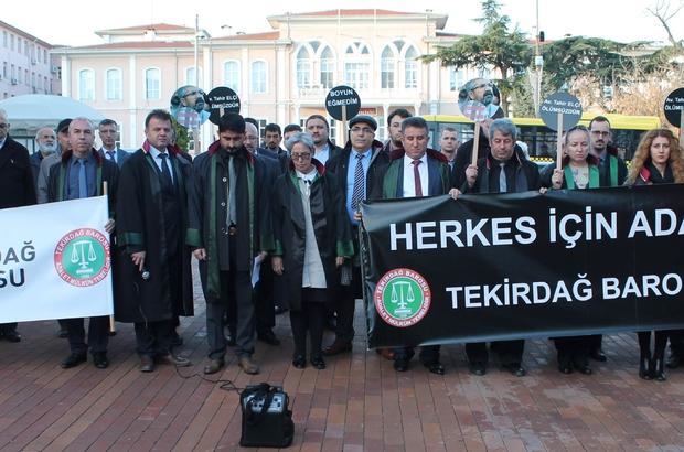 TEKİRDAĞ BAROSU'DAN TAHİR ELÇİ PROTESTOSU