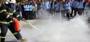 ORTAKÖY'DE LİSE ÖĞRENCİLERİNE YANGIN TATBİKATI