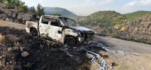 Teröristler yangın müdahale aracını yaktı