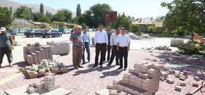 Halkapınar'da kilitli parke taşı çalışması