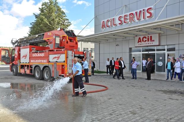 Gölbaşı Devlet Hastanesinde yangın tatbikatı