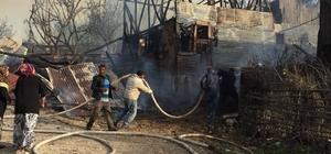 Mudurnu'da samanlık yangını