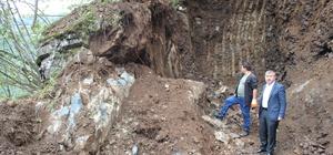 Yağlıdere'de evleri tehdit eden kayaların kırım işlemi başladı