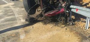Karaman'da devrilen kamyonun şoförü öldü