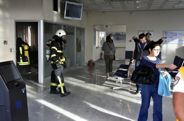 Bodrum'da banka şubesinde yangın
