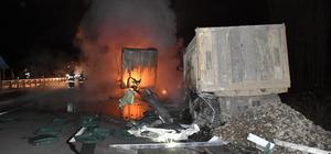 Park halindeki kamyona çarpan tır yandı