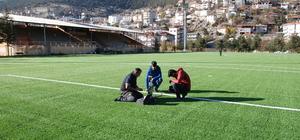 Akseki Stadı'nın zemini test edildi