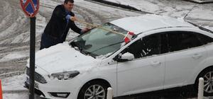 Havza'da mevsimin ilk karı yağdı