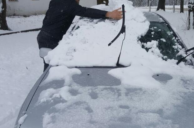 Ladik'te kar yağışı