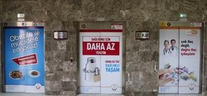 Asansör kapılarına bilgilendirme broşürleri asıldı