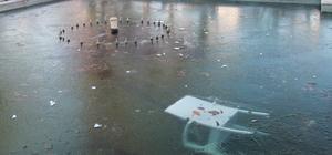 Edirne'de süs havuzları dondu