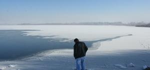 Yeniçağa Gölü buz tuttu