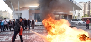 Süleyman Erol yüzme havuzunda yangın tatbikatı
