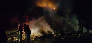 Akşehir'de saman yüklü kamyonda yangın