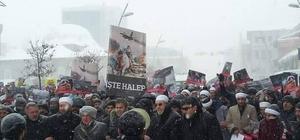 Erzurumlular Halep Katliamını İran Konsolosluğu önünde protesto etti