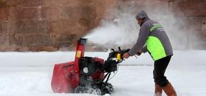İncesu'da karla mücadele çalışmaları
