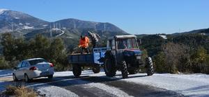 Belen'de buzlanmaya karşı yollar tuzlandı